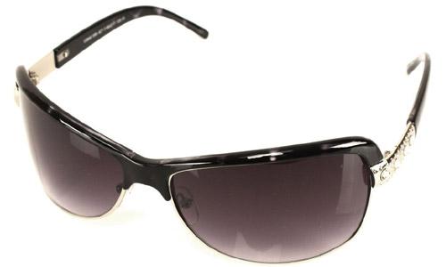 Horn Rimmed Rectangle Sunglasses Stones Black Clear