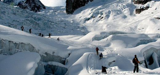 Downhill ice skiing