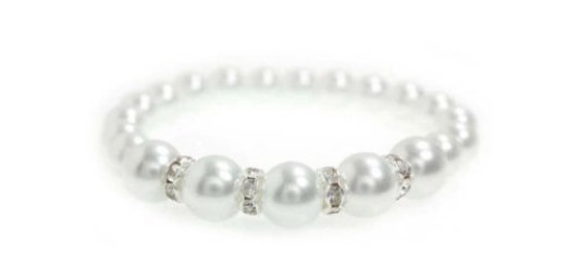 White Single Strand Fashion Beaded Pearl Bracelet