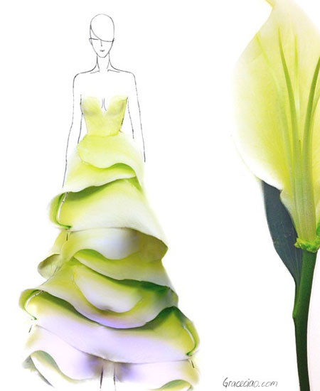 gorgeous dress designs made out of flower petals amazing