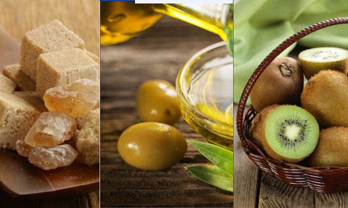 Sugar, olive oil and kiwi