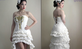 Unbelievable! Wedding Dress Made Out of Toilet Paper.