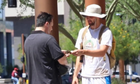 A Man Acting as a Homeless Person Gives 20 Dollars to Those Who Help Him.Amazing Reactions!