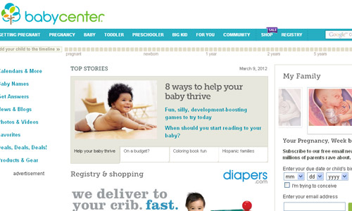 Home page de babycenter.com